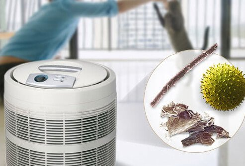 Image of HEPA air filter and allergens.