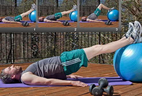 A slightly easier hamstring challenge uses two legs.