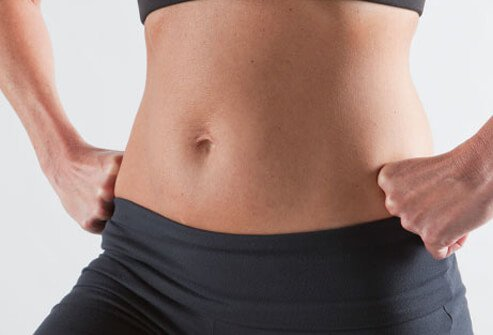 Photo of woman's abs.