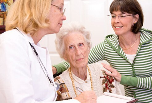 A doctor discusses osteoporosis with a senior woman and her daughter.
