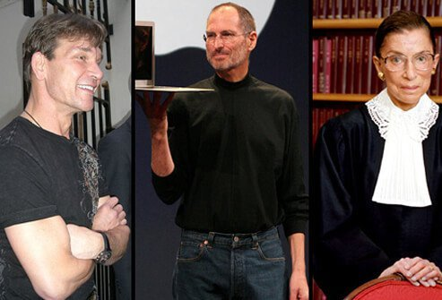 From left to right: Actor Patrick Swayze, who died of pancreatic cancer in September 2009, Apple cofounder and CEO Steve Jobs, and U.S. Supreme Court justice Ruth Bader Ginsburg who have been diagnosed with pancreatic cancer.
