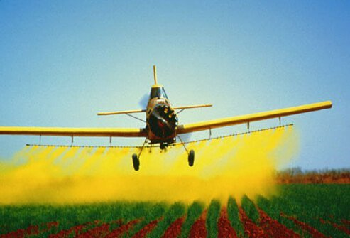 Photo of crop duster plane spraying chemical pesticide.