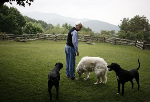 Photo of Billy Graham with his pets.