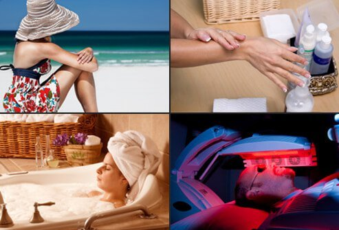 A woman getting some sun on the beach (top left), a woman applying moisturizer on her hands and arms (top right), a woman soaking in the bath (bottom left) and a man getting UVB light therapy treatment on his face (bottom right).