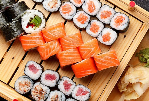 Sushi can have bacteria and parasites like anisakiasis.