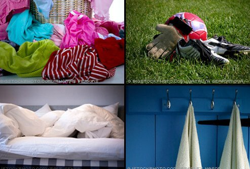 Ringworm spores can live in clothing, sports gear, towels, sheets, and combs for years.