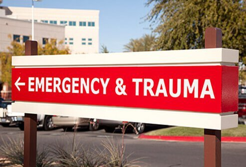 A sign points to the emergency room entrance at the hospital.