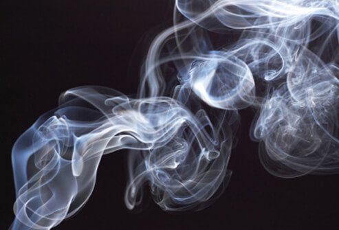 Secondhand smoke from a cigarette.