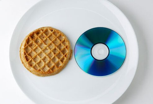 Photo of waffle and CD.