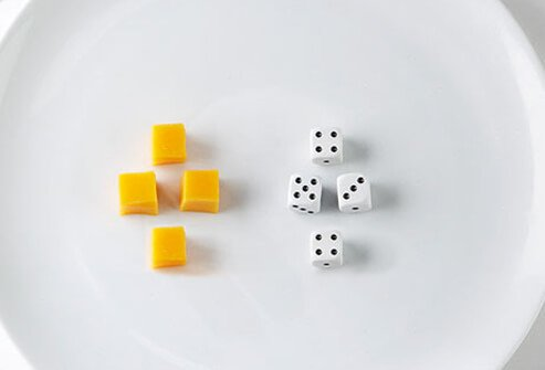 A single serving of cheese is about the size of four dice!