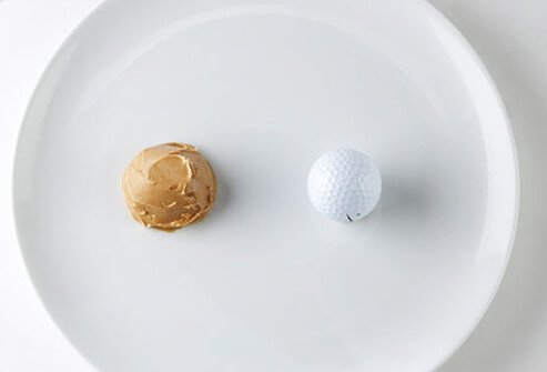 Photo of peanut butter and golf ball.