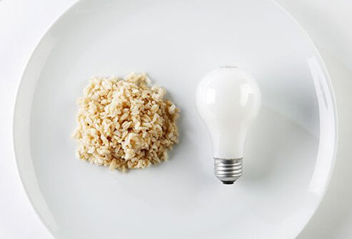 Two servings of rice (two grain servings) are about the size of a light bulb.