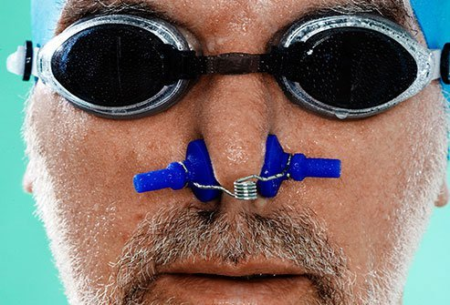 Chlorine in pools can irritate the passageways of your nose.