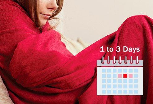 Stomach flu symptoms come on 12 to 48 hours after you are exposed and last for 1 to 3 days.
