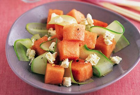 Photo of melon and cucumber.