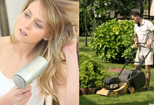Everyday noises, such as blow-drying your hair or using a lawn mower, can be a cause of tinnitus.