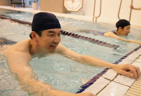 Photo of a man swimming.