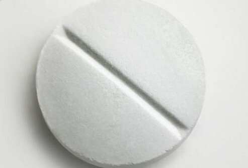 Photo of aspirin tablet.