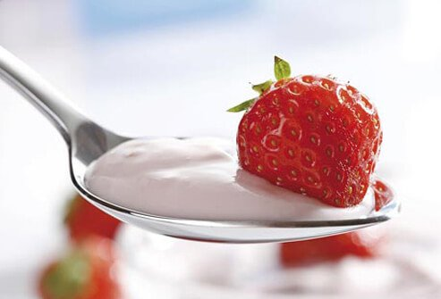Photo of strawberry yogurt.