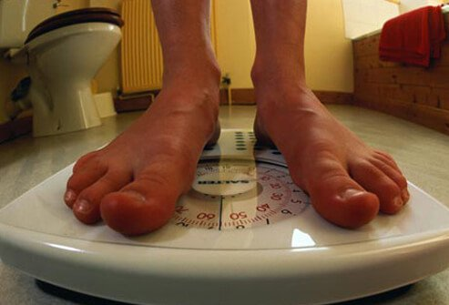 Photo of a person's feet on a scale.