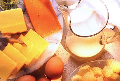 Different types of milk, cheese, and eggs.