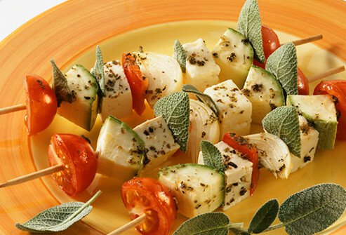 A grilled tofu and vegetable kabob.