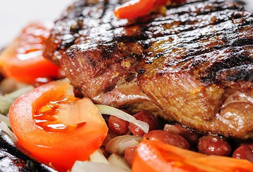 Meat is a good source of protein, but some kinds, like red meat are high in fat.