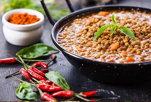 Lentils with carmelized onions and mushrooms can taste like meat.