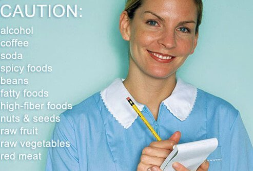 A waitress and list of foods the trigger IBD.