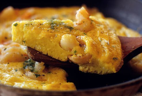 A shrimp omelet, part of a low-residue diet for IBD.