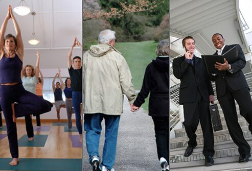 A yoga class, a couple going for a walk, and businessmen taking the stairs.
