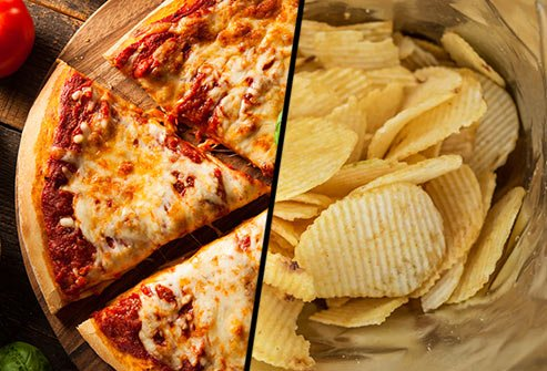Does cheese pizza or potato chips have more saturated fat?