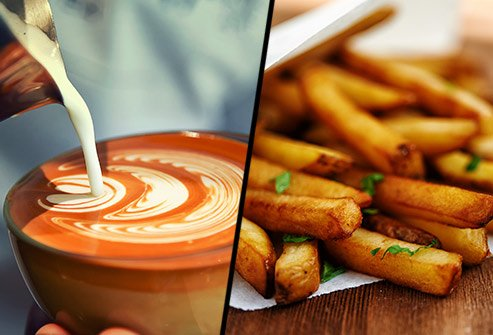 Does a caffe latte or Frech fries have more saturated fat?