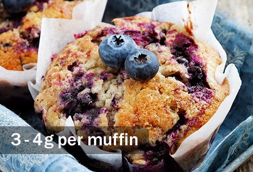 A blueberry muffin can have double or more the saturated fat in a boiled or poached egg.
