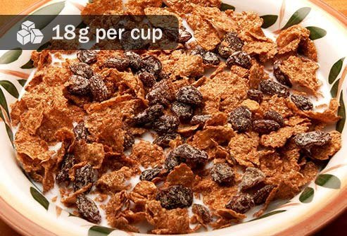 Compare the 18 grams in a cup of this cereal to 3 grams of sugar in a blueberry waffle