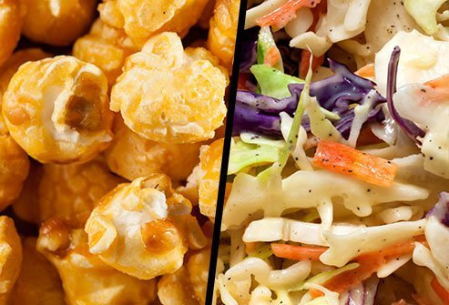 Caramel Corn or Prepackaged Cole Slaw?