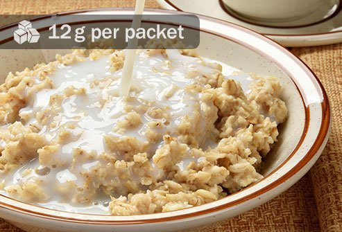 Three 4-inch pancakes have just 5 grams, while a serving of the apples and cinnamon variety of instant oatmeal has more than double that.