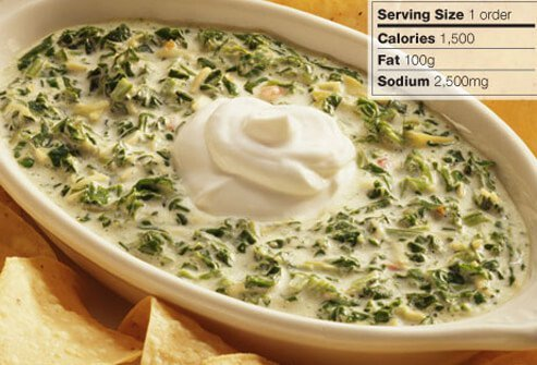Photo of spinach artichoke dip and tortilla chips.