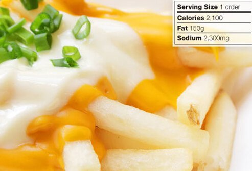 Photo of cheese fries topped with scallions.