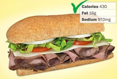 Photo of Blimpie 6-inch Roast Beef and Provolone.